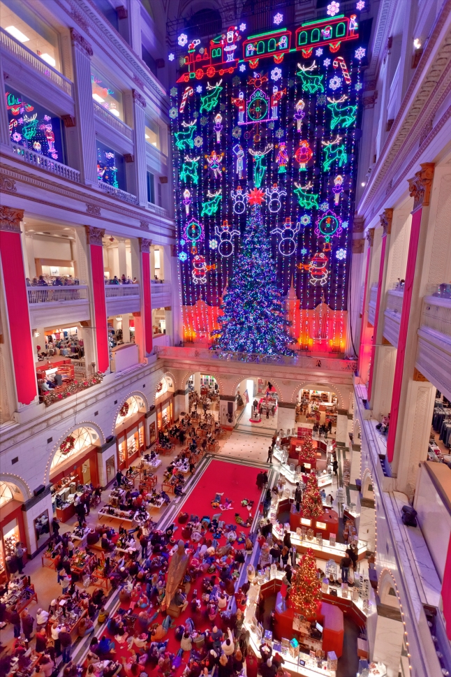 A Philadelphia tradition since 1956, the free Christmas Light Show at Macy's in Center City illuminates the Wanamaker building, a National Historic Landmark, with almost 100,000 LED lights and finishes with sounds from the Wanamaker Organ. Credit: Photo by G. Widman for GPTMC