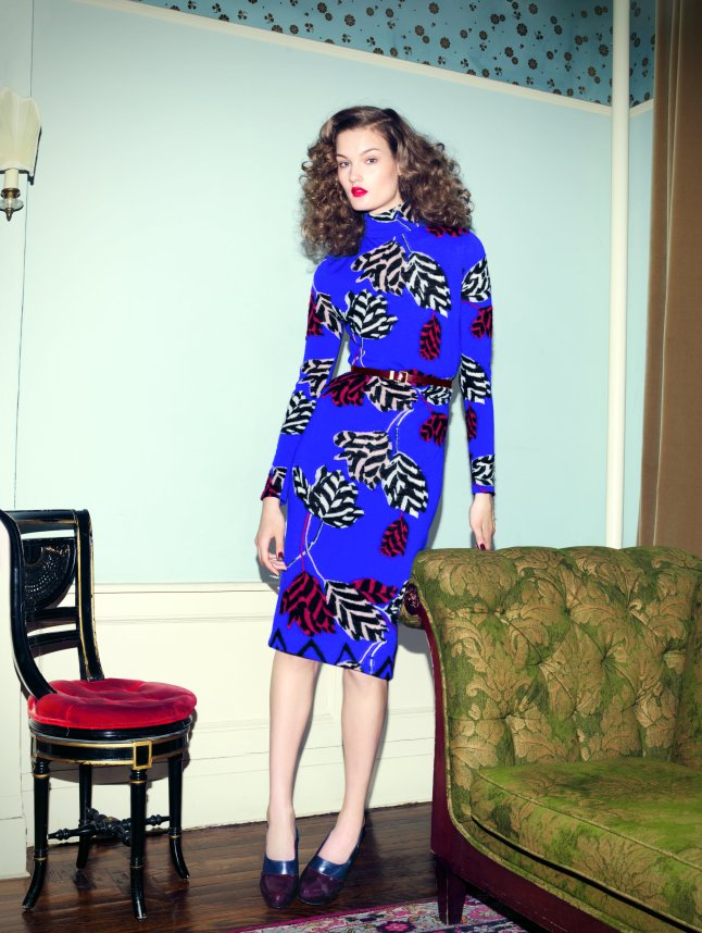 """Marc by Marc Jacobs """"Intarsia"""" sweater dress, $458. Classic leather belt, $158"""