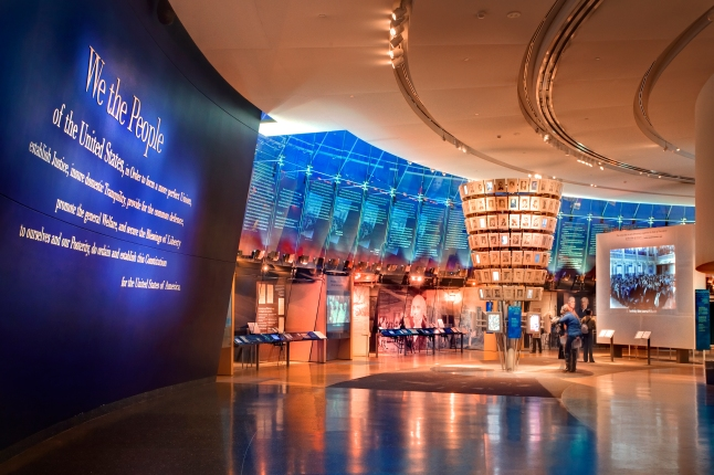 At the National Constitution Center, visitors of all ages discover the impact of the U.S. Constitution on their lives through multimedia exhibitions, sculpture, film, artifacts and interactive displays. Credit: Photo by G. Widman for GPTMC
