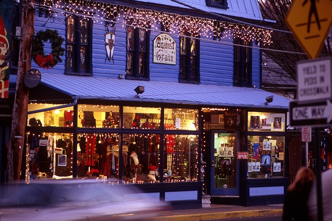 Thousands of lights brighten the streets of New Hope, Pennsylvania, during the holiday shopping season. The charming Bucks County town, just 35 miles north of Philadelphia, is home to many unique shops, restaurants, galleries and studios.