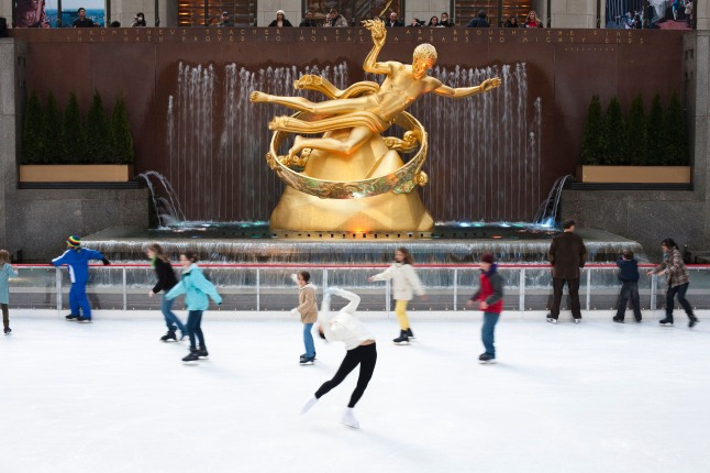 Opened in 1936, The Rink at Rockefeller Center includes rink-side dining, a heated skate house, first skate at 7am, night skate, a heated VIP Igloo, and music.  (PRNewsFoto/The Rink at Rockefeller Center)