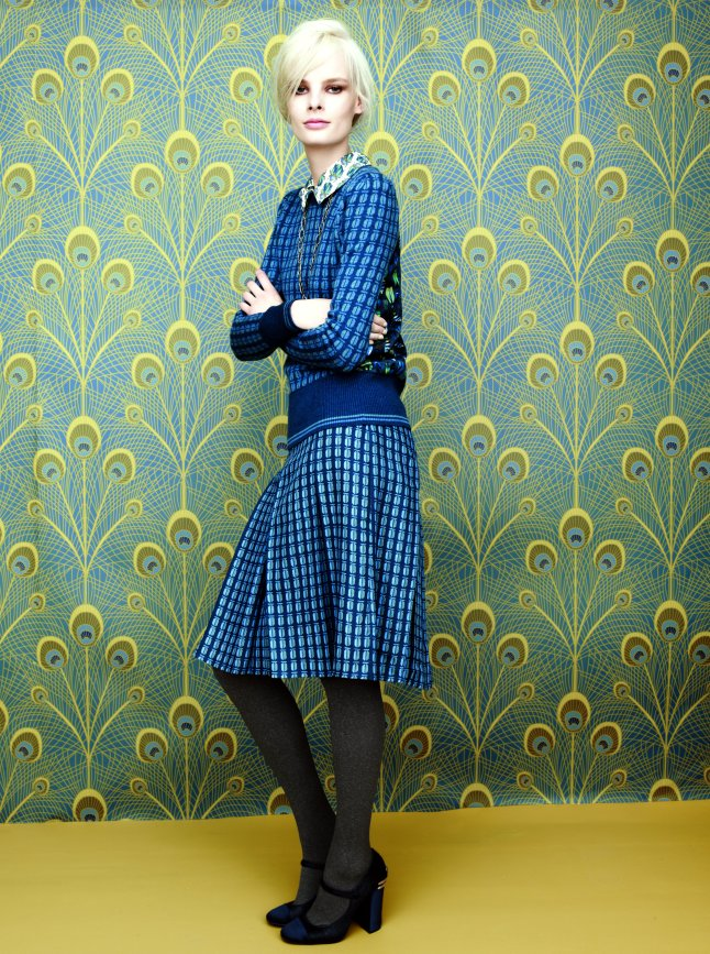 "Tory Burch ""Kerry"" silk blouse, $295. ""Walda"" sweater, $325. ""Leigh"" A-line skirt, $350"