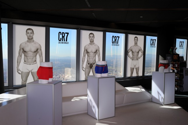 MADRID, SPAIN - OCTOBER 31:  Cristiano Ronaldo officially launches his CR7 by Cristiano Ronaldo underwear line with a private event in Madrid on October 31, 2013 in Madrid, Spain.  (Photo by Denis Doyle/Getty Images for CR7)
