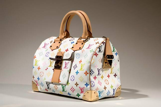 "Louis Vuitton (Takashi Murakami), ""Speedy 30"" monogram handbag, multicolor monogram canvas, 2003, France, museum purchase"