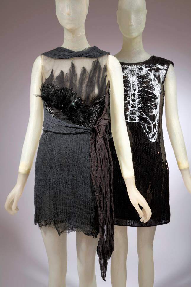 (left) Rodarte, evening dress, black and nude net, wool, black leather, beads, cheese cloth, and metal gauze, spring 2010, USA, museum purchase, (right) Rodarte for Target, evening dress, polyester crepe chiffon, 2009, USA, gift of The Fashion and Textile Studies Department and the School of Graduate Studies