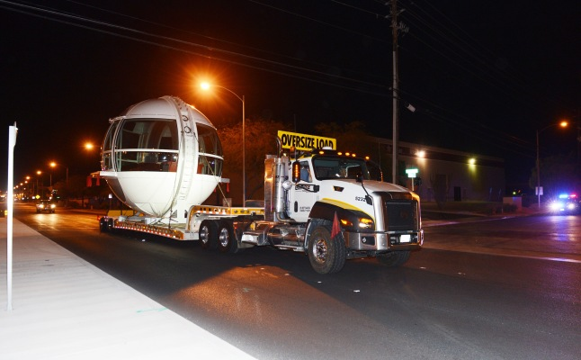 The first passenger cabin of the Las Vegas High Roller observation wheel is transferred to the wheel site early Monday, Nov. 4. Photo Credit: Denise Truscello