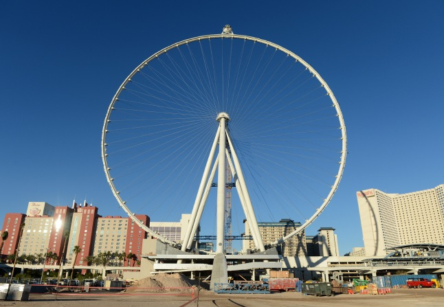 The first passenger cabin is rotated to the top of the Las Vegas High Roller, officially making it the world's tallest observation wheel at 550 feet. Photo Credit: Denise Truscello