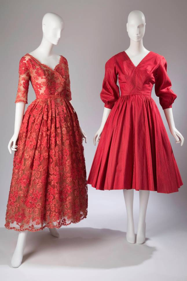 (left) Christian Dior, evening dress, red machine lace, red and white tulle, circa 1950, France, gift of Nancy White, (right) Anne Fogarty, dress, red silk, circa 1954, USA, unknown origin