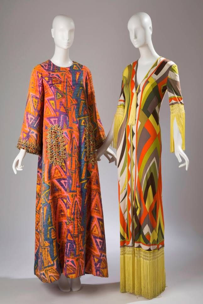 (left) Oscar de la Renta, caftan, multi colored caftan with beaded trim, circa 1963, USA, gift of Diana Vreeland, (right) Emilio Pucci, dress, printed silk jersey, circa 1970, Italy, Gift of Robert Wells In Memory of Lisa Kirk