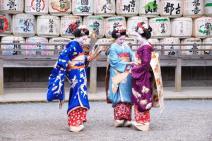 Asia; Japan; Kyoto; Maiko in Matsuo Taisha Shrine