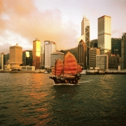 China; Junk Vessel with Hong Kong skyline