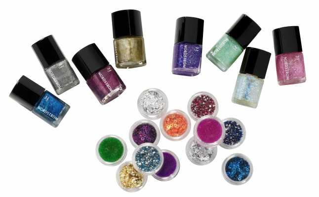Nordstrom metallic or glitter mini nail polish quad in great go-to shades, $20. Wear one color at a time or create your own look by mixing tones and textures. Nordstrom nail art set, includes 12 mini pots of sequins, gems, beads and foil to unleash your inner nail artist, $25. All available exclusively in Cosmetics at Nordstrom.