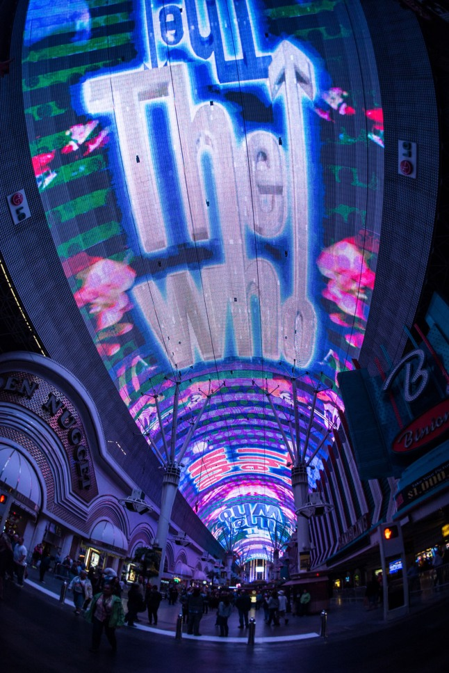 "Fremont Street Experience debuts its newest Viva Vision(R) show The Who - Miles Over Vegas in Downtown Las Vegas. The new light and sound show is built around the music of legendary rock band The Who and includes three of the band's most iconic songs - ""I Can See for Miles,"" ""Pinball Wizard"" and ""My Generation"" - custom synced to stunning graphics including live music footage, album art, performance footage and more. The Who - Miles Over Vegas airs nightly at 10 p.m. as part of the ongoing Viva Vision(R) show schedule. Viva Vision(R) shows air nightly and are free to the public. www.vegasexperience.com.  (PRNewsFoto/Fremont Street Experience)"