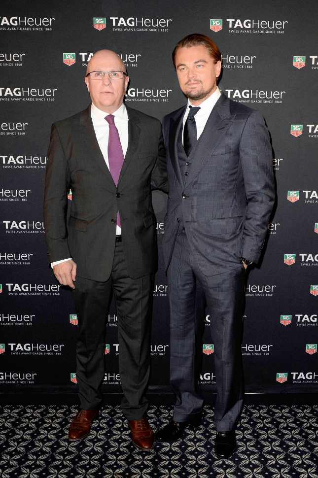 PARIS, FRANCE - NOVEMBER 06: (L-R) Leonardo DiCaprio and TAG Heuer's CEO Stephane Linder attend the Opening of the TAG Heuer New Boutique, Followed By An Evening Celebrating 50 years of Carerra In Pavillon Vendome on November 6, 2013 in Paris, France. (Photo by Pascal Le Segretain/Pascal Le Segretain/ Getty Images for Tag-Heuer)