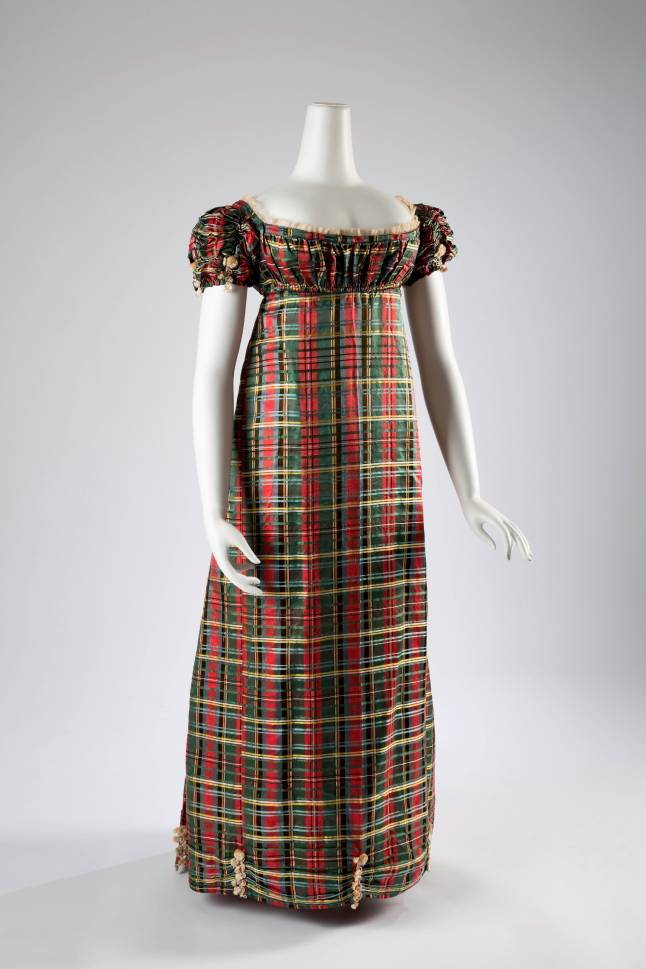 Dress, tartan silk, circa 1812, Scotland, museum purchase