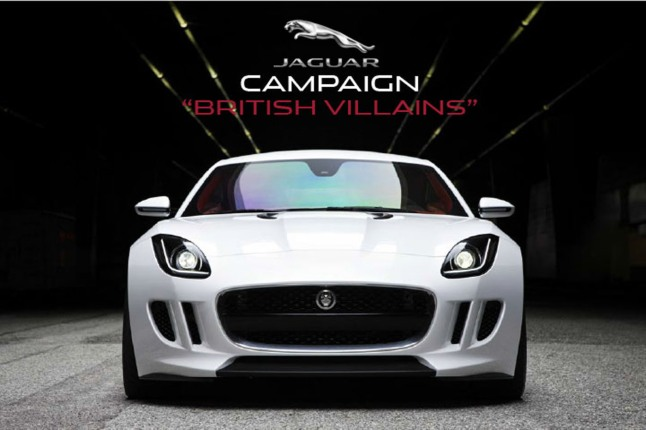 """Jaguar announced a new advertising campaign, themed """"British Villains,"""" to launch the F-TYPE Coupe, during a press conference in New York City on November 7, 2013. The campaign will feature Jaguar's first ever television commercial for broadcast in the Super Bowl.    (PRNewsFoto/Jaguar)"""
