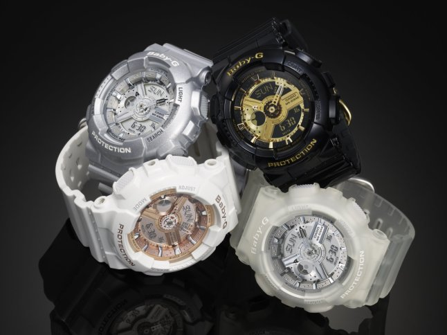 The Baby-G BA110 watch series in black/gold, white/rose gold, platinum and translucent/silver