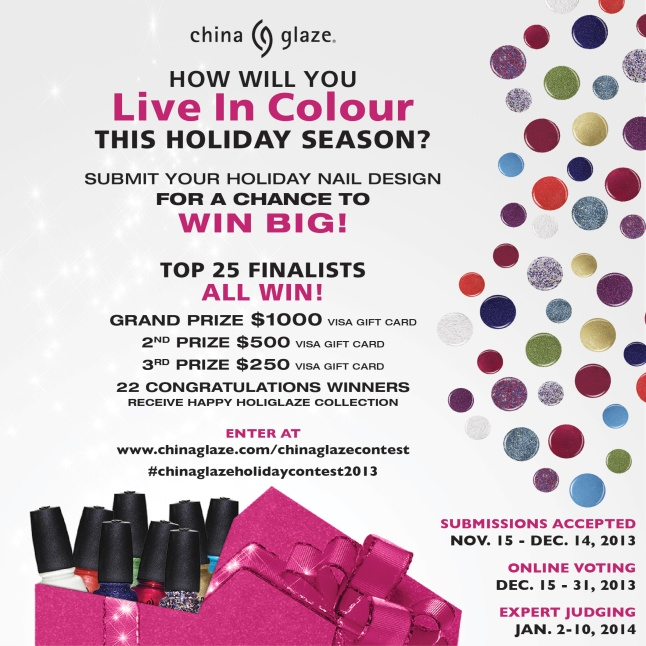 The China Glaze Holiday Nail Design Contest is now open. Submit your design and enter to win.
