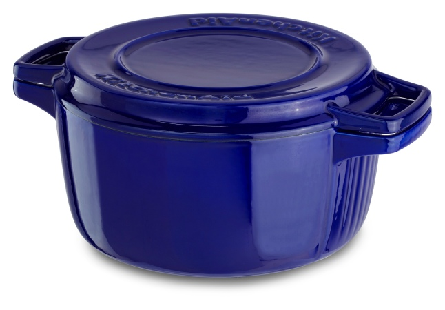 The KitchenAid® Professional Cast Iron cookware is available in 4-qt. and 6-qt. sizes. Available in Fiesta Blue, Ivy Green and Royal Red, suggested retail prices range from $229.99 - $249.99.