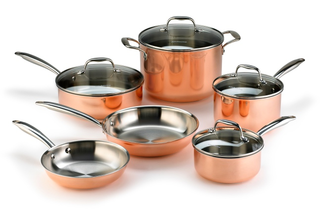 The KitchenAid® Tri Ply Copper cookware is induction capable and can be used on electric, gas or induction cooktops. Suggested retail price is $699 (10-piece set); open stock pieces are also available.