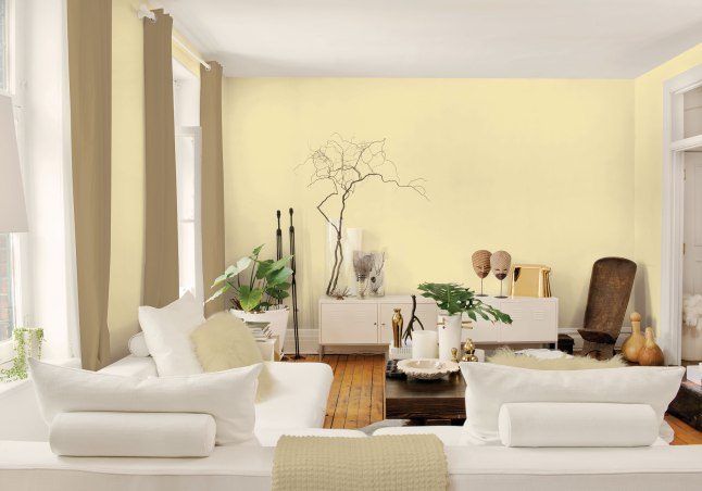 The pale yellow of Turning Oakleaf, named Color of the Year, works with the other raw colors of the great outdoors in New Spirit to evoke a renewed outlook and primitive feel.