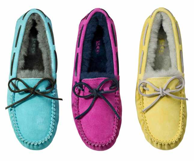 UGG Australia 'Dakota' slipper with tie, suede upper, shearling lining and rubber sole, sizes 5-12, in blue Curacao/charcoal, princess pink/navy, banana yellow/shadow grey, $99.95. Available exclusively in Women's Shoes at Nordstrom and nordstrom.com.