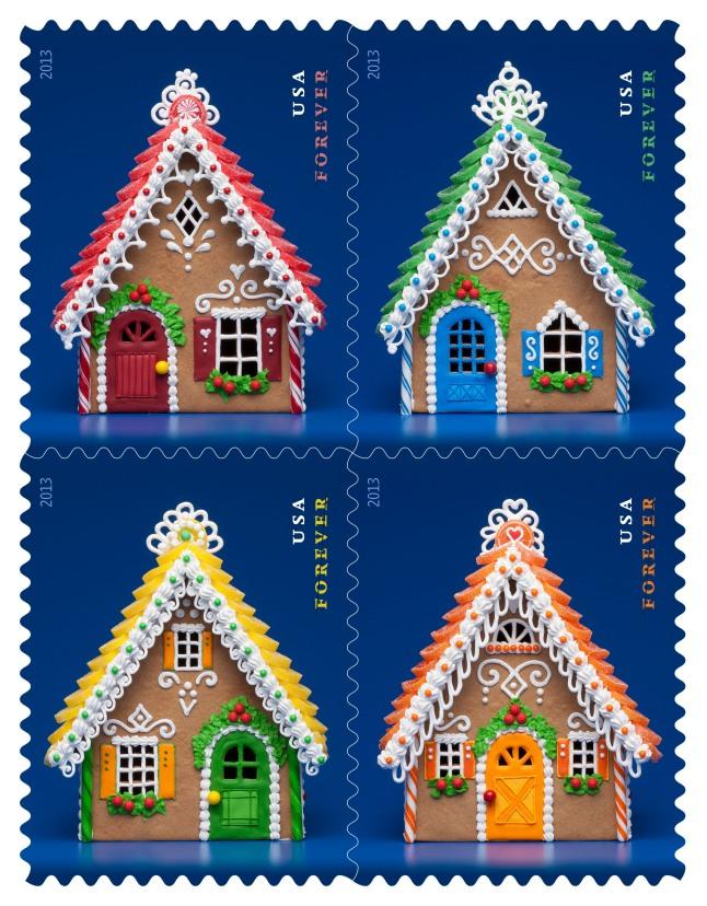 Gingerbread Houses Forever Stamps.  (PRNewsFoto/U.S. Postal Service)