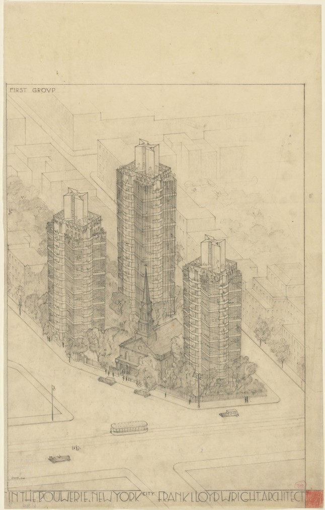 """Frank Lloyd Wright (American, 1867–1959). St. Mark's-in-the-Bouwerie Towers, New York. 1927–31. Aerial perspective. Graphite and colored pencil on tracing paper, 23 3/4 x 15"""" (60.3 x 38.1 cm). The Museum of Modern Art, New York. Jeffrey P. Klein Purchase Fund, Barbara Pine Purchase Fund, and Frederieke Taylor Purchase Fund"""