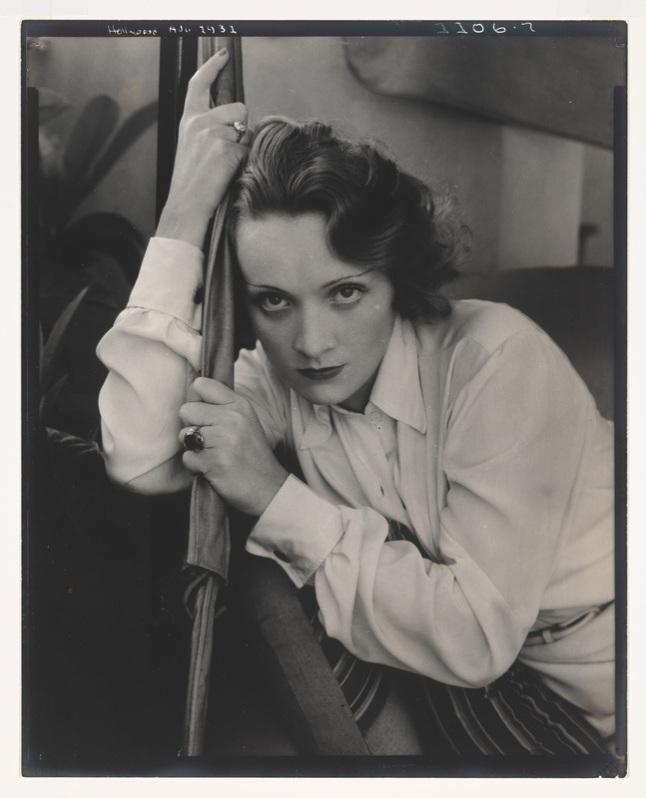 Edward Steichen, Marlene Dietrich, (for Vanity Fair), 1931. Gelatin silver print, 10 × 8in. (25.4 × 20.3 cm). Whitney Museum of American Art; gift of Richard and Jackie Hollander in memory of Ellyn Hollander  2012.234