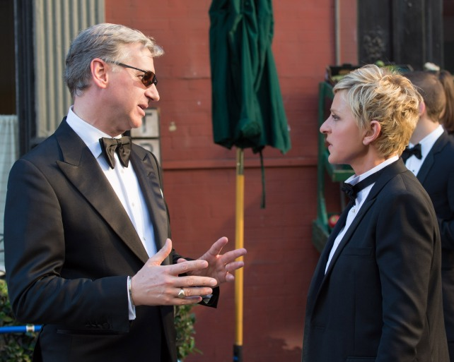Host promo shoot for the 86th Academy Awards - Paul Feig and Ellen DeGeneres