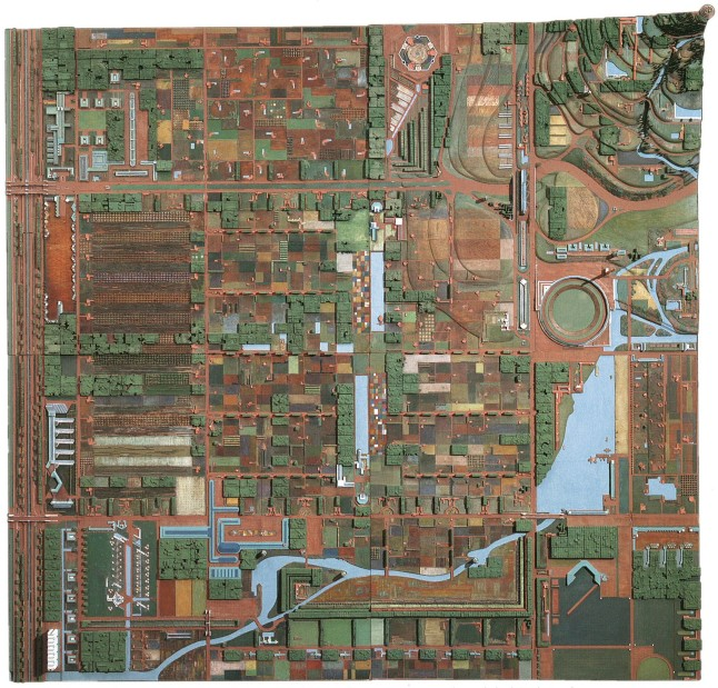 "Frank Lloyd Wright (American, 1867–1959). Broadacre City Project. 1934–35. Model: painted wood, 152 x 152"" (386.1 x 386.1 cm). The Frank Lloyd Wright Foundation Archives (The Museum of Modern Art 