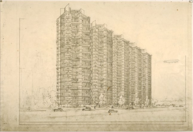 """Frank Lloyd Wright (American, 1867–1959). Grouped Towers, Chicago. 1930. Perspective. Pencil and ink on paper, 19 x 28 1/4"""" (48.3 x 71.8 cm). The Frank Lloyd Wright Foundation Archives (The Museum of Modern Art 