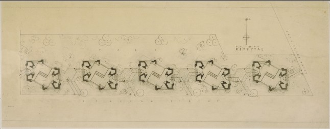 """Frank Lloyd Wright (American, 1867–1959). Grouped Towers, Chicago. 1930. Plan of the pedestal. Pencil on tracing paper, 13 3/4 x 35 3/8"""" (34.9 x 89.9 cm). The Frank Lloyd Wright Foundation Archives (The Museum of Modern Art 