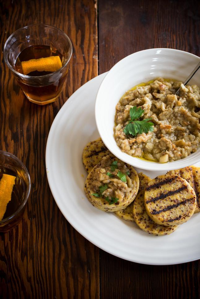 "Eggplant ""Caviar"" on Grilled Quinoa Polenta"