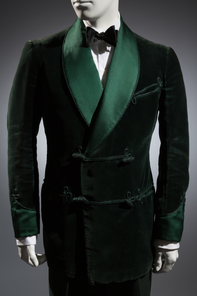 Gardner and Wooley LTD, Smoking jacket, Green velvet, satin  1936, London, Collection of Alan Bennett, Davies and Son