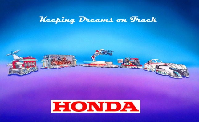"Honda's float, ""Keeping Dreams on Track"" leads off the Rose Parade in Pasadena, Calif., on New Years Day, Jan. 1, 2014. The float, designed as a dream-like train, is the longest in the 125 year-history of the parade, measuring an unprecedented 274 feet. The float is powered by a specially-configured Honda hybrid engine and features re-creations of the Acura NSX sports car, HondaJet and ASIMO, the world's most advanced humanoid robot.  (PRNewsFoto/American Honda Motor Co., Inc.)"