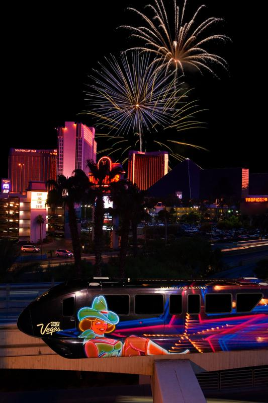 The Las Vegas Monorail will offer non-stop service until 3 a.m. on New Year's Eve, even when the Strip is closed to traffic and fireworks light up the sky at midnight. (PRNewsFoto/Las Vegas Monorail)