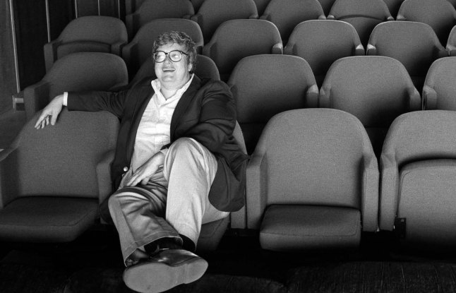Roger Ebert in screening room for photo shoot for People Weekly, June 13, 1984; Chicago (Kevin Horan)