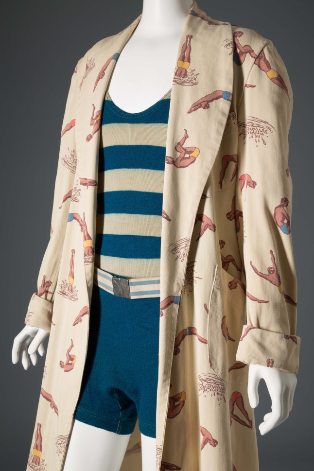 McGregor, Man's beach robe, Cream printed cotton, Circa 1935-1940, USA, The Museum at FIT, P92.11.4, Museum Man's swim suit, Wool knit, Circa 1929, USA, The Museum at FIT, 89.143.1, Gift of Mike Dykeman