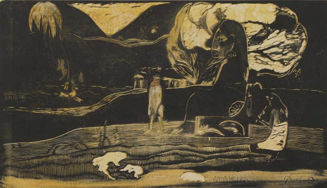 Paul Gauguin (French, 1848–1903). Maruru (Offerings of Gratitude) from the suite Noa Noa (Fragrant Scent). 1893-94. Woodcut, comp. 8 1/16 x 14″ (20.5 x 35.5 cm). Sterling and Francine Clark Art Institute, Williamstown, Mass. Photo credit: © Sterling and Francine Clark Art Institute, Williamstown, Massachusetts (photo by Michael Agee)