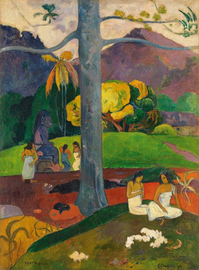 Paul Gauguin (French, 1848–1903). Mata mua (In Olden Times). 1892. Oil on canvas, 35 13/16 x 27 3/16″ (91 x 69 cm). Carmen Thyssen-Bornemisza Collection. On deposit at Museo Thyssen-Bornemisza, Madrid. Photo credit: Museo Thyssen-Bornemisza / Scala / Art Resource, NY