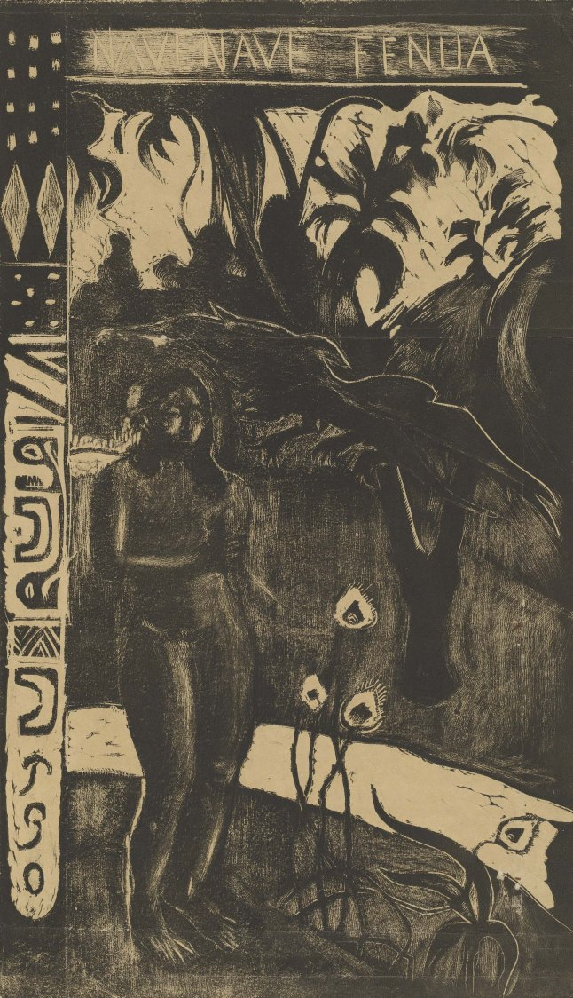 Paul Gauguin (French, 1848–1903). Nave nave fenua (Delightful Land) from the suite Noa Noa (Fragrant Scent). 1893-94. Woodcut, comp. 14 x 8″ (35.6 x 20.3 cm). National Gallery of Art, Washington, D.C. Rosenwald Collection