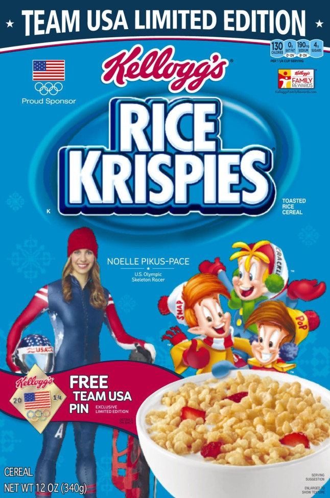 U.S. Olympian Noelle Pikus-Pace, skeleton competitor and member of Team Kellogg's(TM), will be featured on Kellogg's(R) Rice Krispies(R) cereal boxes beginning in December.  (PRNewsFoto/Kellogg Company)