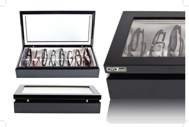 OYOBox is the chic, contemporary solution for storing eyewear.  It was designed to protect and display up to eight pairs of sunglasses and eyeglasses, like a jewelry box for eyewear.  It can accommodate both small readers and large, trendy frames.  (PRNewsFoto/OYOBox)