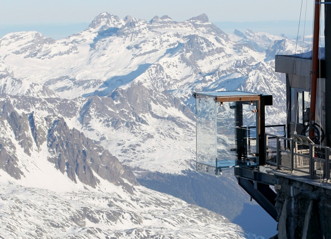 The Chamonix Skywalk juts out from the top terrace of the Aiguille du Midi, with a 1,000 meter drop below. (Reuters/Robert Pratta)