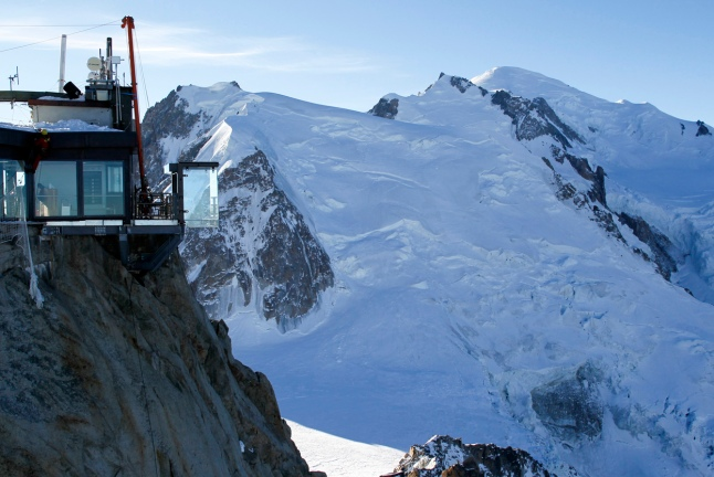 View of the Chamonix Skywalk on top terrace of the Aiguille du Midi, on December 17, 2013. At right, Mont-Blanc, the highest mountain in the Alps. (Reuters/Robert Pratta)