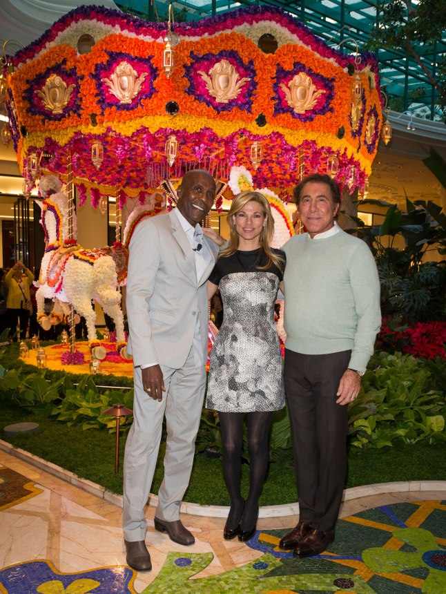 Steve and Andrea Wynn and event designer, Preston Bailey, unveil floral hot air balloon at Wynn Las Vegas