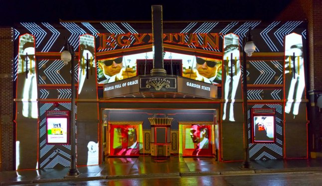 """KLIP COLLECTIVE EXTERIOR PROJECTIONS ON EGYPTIAN THEATRE - """"What's He Projecting In There,""""  (Photo Credit: Pier Nicola D'Amico)"""