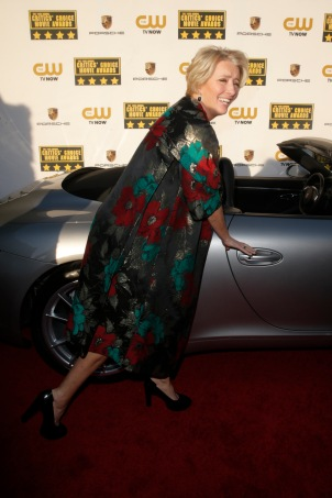 Emma Thompson arrives at the 19th annual Critics' Choice Movie Awards presented by Porsche at The Barker Hangar in Santa Monica on Thursday, Jan. 16, 2014. (Photo by Todd Williamson/Invision for Porsche/AP Images)
