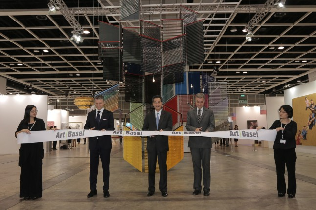 Art Basel | Hong Kong 2013 | Opening Ceremony | Left to right: René Kamm, CEO MCH Basel Exhibition, The Hon C Y Leung, Chief Executive of the Hong Kong Special Administrative Region, Guy Morin, President of the Government of the Canton of Basel-Stadt